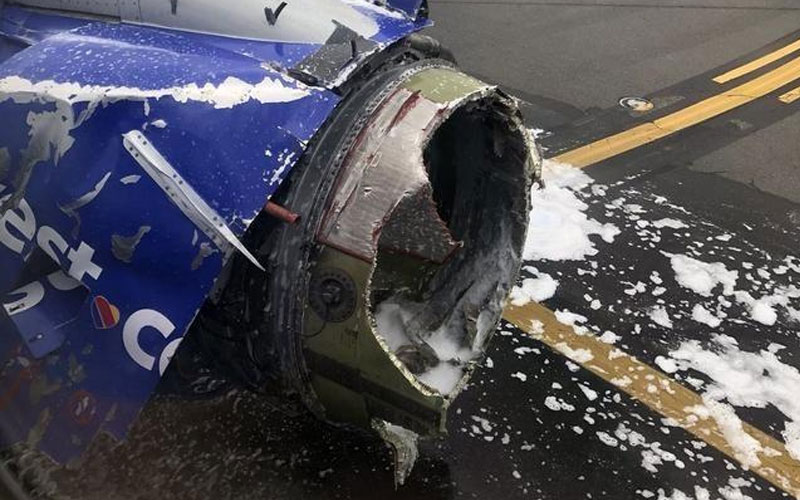 Picture: The engine of Southwest Airlines Flight 1380 exploded in this accident