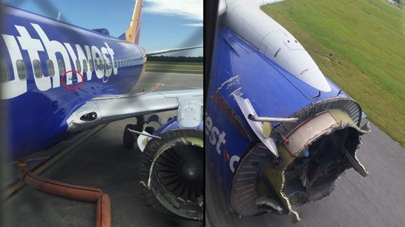 Picture: Southwest Airlines Flight 3472, which also produced an engine explosion at a height of 10,000 meters in August 2016, is shown in the red circle above the wing on the left.